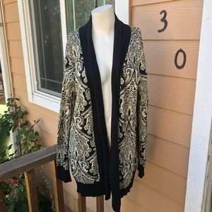 Maurice's gorgeous black and gold open cardigan